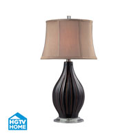 HGTV HOME Ceramic Table Lamp With Acrylic Base And Taupe Faux Silk Shade in Coffee Glaze HGTV136