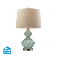 HGTV HOME Smoked Green Lamp With Metallic Linen Shade in Light Green Smoke HGTV141