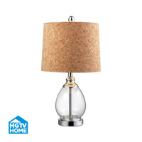 HGTV HOME Clear Glass Table Lamp With Cork Shade in Clear HGTV142