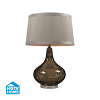 HGTV HOME Coffee Smoked Water Glass Table Lamp With Taupe Faux Silk Shade in Coffee Smoked HGTV148