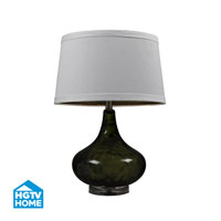 HGTV HOME Moss Green Water Glass Table Lamp With White Linen Shade in Moss Smoked HGTV149