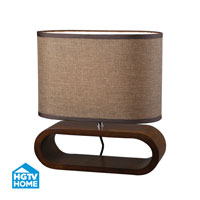 HGTV HOME Wooden Oval Table Lamp in Bennford Natural Stain HGTV153