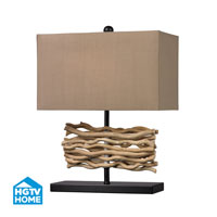 HGTV HOME Wooden Table Lamp in Black and Nature HGTV157