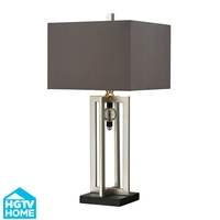 HGTV HOME 1 Light Table Lamp in Silver Leaf / Black HGTV228