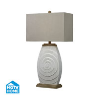 HGTV HOME 1 Light Table Lamp in Fauborg Glaze With Light Wood Tone Accents HGTV250