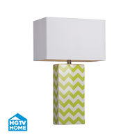 HGTV HOME 1 Light Table Lamp in Citrus Green / White Chevron HGTV278
