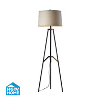 HGTV HOME 1 Light Floor Lamp in Restoration Black / Aged Gold HGTV310