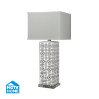 HGTV HOME 1 Light Table Lamp in Gloss White / Royal Blue HGTV314