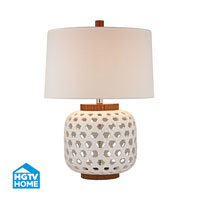 HGTV HOME Bloome 1 Light Table Lamp in White and Wood Tone HGTV346