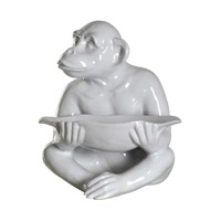 Chimp White Statue