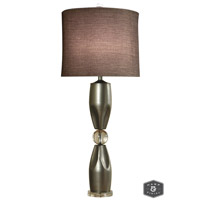 Harp and Finial HFL311567DS Genoa 42 inch 150 watt Brushed Steel Table Lamp Portable Light