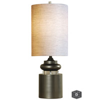 Harp and Finial HFL311572DS Meridian 32 inch 100 watt Satin Silver Table Lamp Portable Light