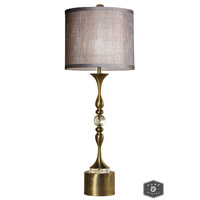 Harp and Finial HFL311573DS Tanga 43 inch 150 watt Antique Brass Table Lamp Portable Light