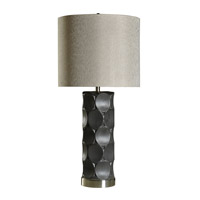 Harp and Finial HFL313109DS Rutherford 37 inch 150 watt Charcoal Table Lamp Portable Light