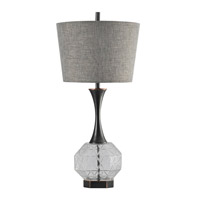 Harp and Finial HFL313664DS Draper 36 inch 150 watt Charcoal Table Lamp Portable Light