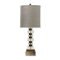 Perry 34 inch 150 watt Brushed Nickel And Clear Table Lamp Portable Light