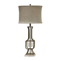 Brushed Nickel Glass/Fabric Table Lamps