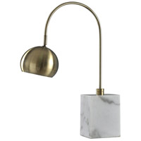 Harp and Finial HFL316906DS Woolsey 27 inch 40 watt Antique Brass and White Table Lamp Portable Light