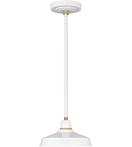 Hinkley 10281GW Foundry Classic 1 Light 10 inch Gloss White/Brass Outdoor Hanging Light photo thumbnail