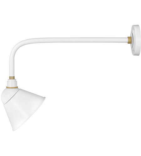 Hinkley 10928GW Foundry 1 Light 21 inch Gloss White with Brass Accents Outdoor Wall Mount photo thumbnail
