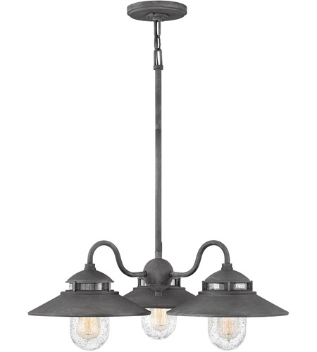 Hinkley 1113dz atwell 3 light 24 inch aged zinc outdoor chandelier photo