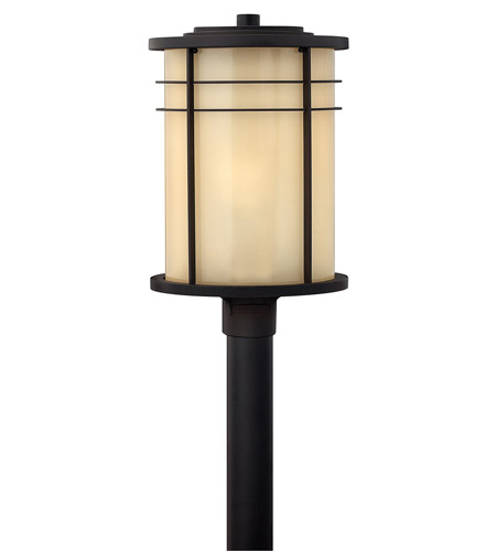 Hinkley 1121MR-GU24 Ledgewood 1 Light 21 inch Museum Bronze Post Lantern in Champagne Inside-Etched, GU24 photo