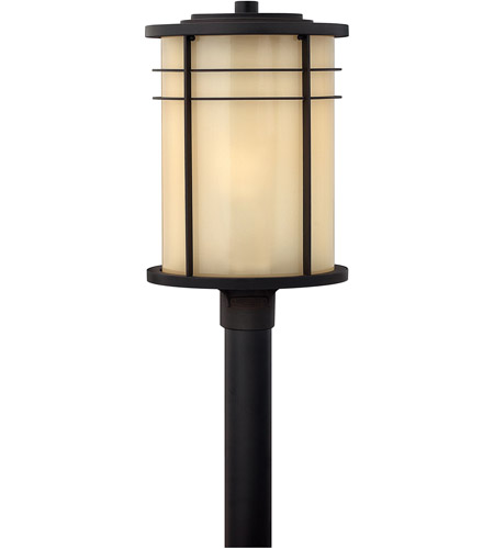 Hinkley 1121MR Ledgewood 1 Light 21 inch Museum Bronze Outdoor Post Mount in Champagne Inside-Etched, Incandescent, Post Sold Separately photo