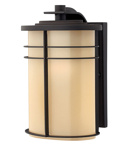 Hinkley 1124MR-GU24 Ledgewood 1 Light 12 inch Museum Bronze Outdoor Wall in Champagne Inside-Etched, GU24 photo