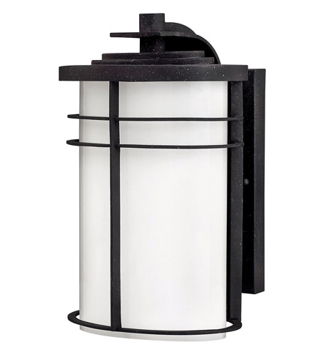 Hinkley 1124VK Ledgewood 1 Light 12 inch Vintage Black Outdoor Wall Lantern in Cased Opal, Incandescent photo