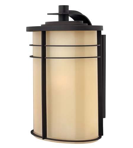 Hinkley 1129MR-GU24 Ledgewood 1 Light 20 inch Museum Bronze Outdoor Wall in Champagne Inside-Etched, GU24 photo