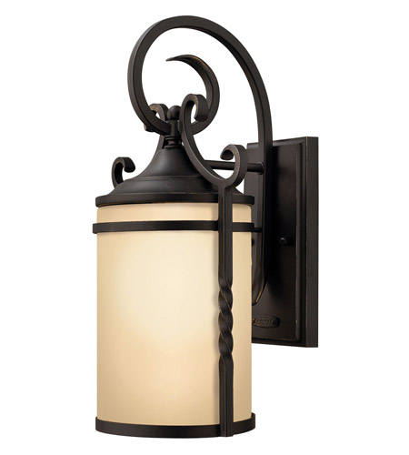 Hinkley 1140OL-LED Casa 1 Light 13 inch Olde Black Outdoor Wall Lantern in LED, Light Etched Amber Glass photo