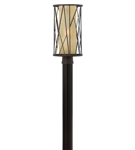 Hinkley 1151RB-GU24 Elm 1 Light 19 inch Regency Bronze Post Lantern in GU24, Amber Etched Glass photo