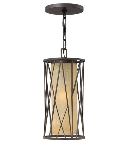 Hinkley 1152RB-GU24 Elm 1 Light 8 inch Regency Bronze Outdoor Hanging in GU24, Amber Etched Glass photo