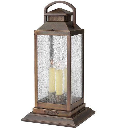 Hinkley 1187SN Revere 3 Light 20 inch Sienna Pier Mount Lantern, Clear Seedy Glass photo