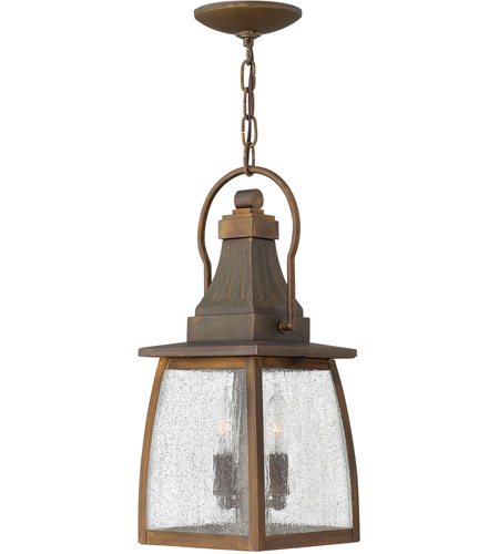 Hinkley 1202SN Montauk 2 Light 7 inch Sienna Outdoor Hanging Lantern in Incandescent, Clear Seedy Glass photo