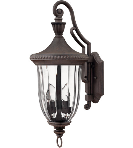 Hinkley Lighting Oxford 3 Light Outdoor Wall Lantern in Midnight Bronze 1244MN