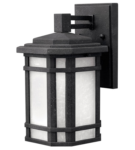 Hinkley 1270VK-GU24 Cherry Creek 1 Light 11 inch Vintage Black Outdoor Wall in White Linen, GU24 photo