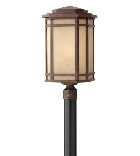 Hinkley 1271OZ-GU24 Cherry Creek 1 Light 22 inch Oil Rubbed Bronze Post Lantern in Amber Linen, GU24 photo