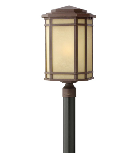 Hinkley 1271OZ Cherry Creek 1 Light 22 inch Oil Rubbed Bronze Post Lantern in Amber Linen, Incandescent, Post Sold Separately photo
