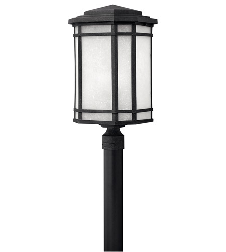 Hinkley 1271VK-GU24 Cherry Creek 1 Light 22 inch Vintage Black Post Lantern in White Linen, GU24 photo