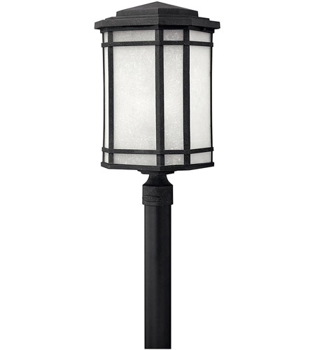 Hinkley 1271VK-LED Cherry Creek 1 Light 22 inch Vintage Black Post Lantern in White Linen, LED, Post Sold Separately photo