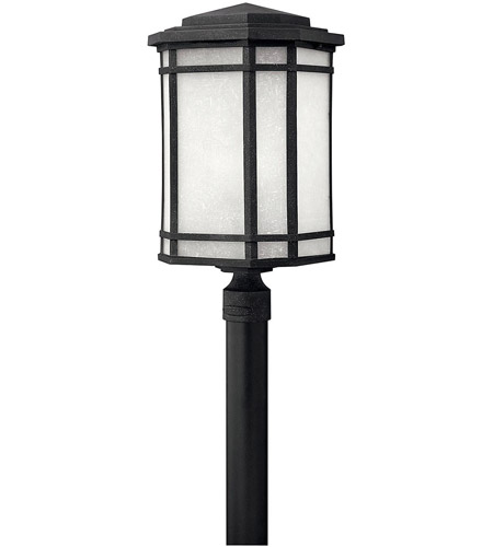 Hinkley 1271VK Cherry Creek 1 Light 22 inch Vintage Black Outdoor Post Mount in White Linen, Incandescent, Post Sold Separately photo