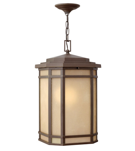 Hinkley 1272OZ-GU24 Cherry Creek 1 Light 12 inch Oil Rubbed Bronze Outdoor Hanging in Amber Linen, GU24 photo