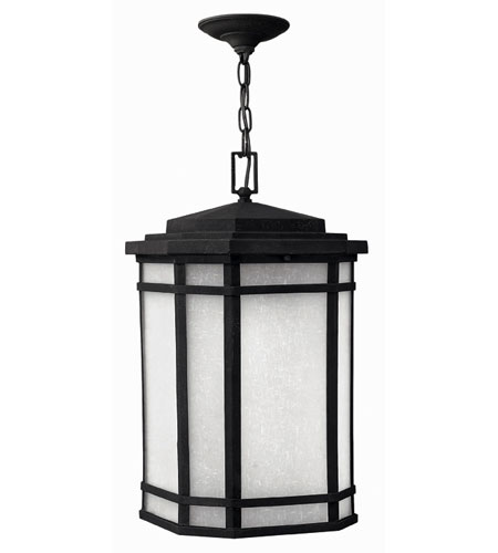 Hinkley Lighting Cherry Creek 1 Light Outdoor Hanging Lantern in Vintage Black 1272VK-ES