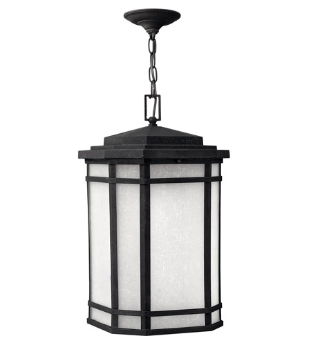 Hinkley 1272VK-GU24 Cherry Creek 1 Light 12 inch Vintage Black Outdoor Hanging in White Linen, GU24 photo