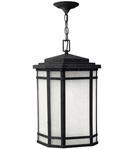 Hinkley 1272VK-LED Cherry Creek LED 12 inch Vintage Black Outdoor Hanging Lantern in White Linen photo