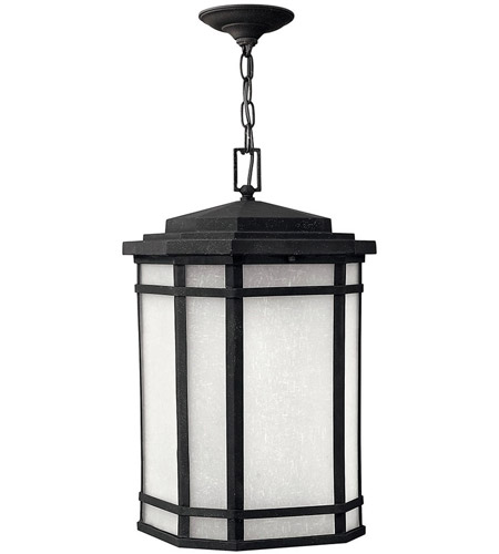 Hinkley 1272VK Cherry Creek 1 Light 12 inch Vintage Black Outdoor Hanging Lantern in White Linen, Incandescent photo