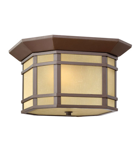 Hinkley 1273OZ Cherry Creek 2 Light 12 inch Oil Rubbed Bronze Outdoor Flush Lantern in Amber Linen, Incandescent photo