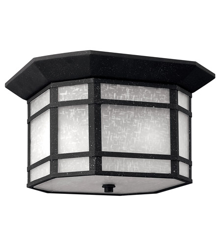 Hinkley 1273VK-LED Cherry Creek LED 12 inch Vintage Black Flush Mount Outdoor in White Linen photo
