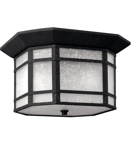 Hinkley Lighting Cherry Creek 2 Light Outdoor Flush Lantern in Vintage Black 1273VK